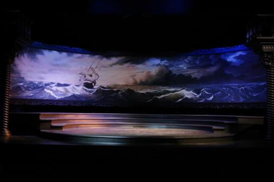 "Brian Clinnin's set for Trinity Shakespeare's ""The Merchant of Venice"