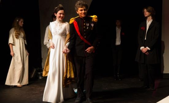 At Elsinore Court: Ophelia (Taylor Donnelson), Gertrude (Madeleine Norton), Claudius ( Doak Rapp), Polonius (Josh LeBlanc)