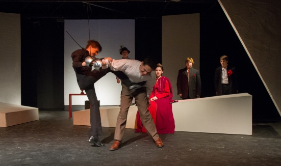 Hamlet and Laertes fight to the death, while Gertrude watches. Chris Rodenbaugh, Cal Simpson, Madeleine Norton