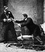 "Cigarette Case scene in the original 1895 production of ""Earnest""."