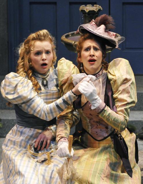 Lauren Thompson as Cecily (l), Renee Lawrence as Gwendolyn (r)