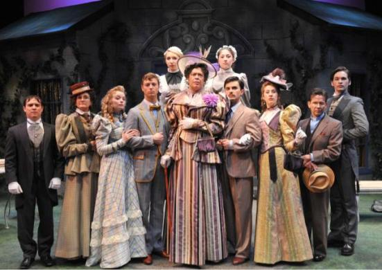 "D. Lance Marsh's City Rep cast poses on the Burg Theatre set of ""The Importance of Being Earnest"" at Oklahoma City University"