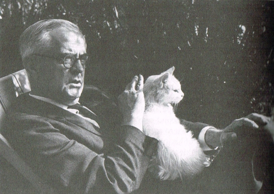 "Controversial ""Dark Lady"" scholar A.L.Rowse with his cat Peter"