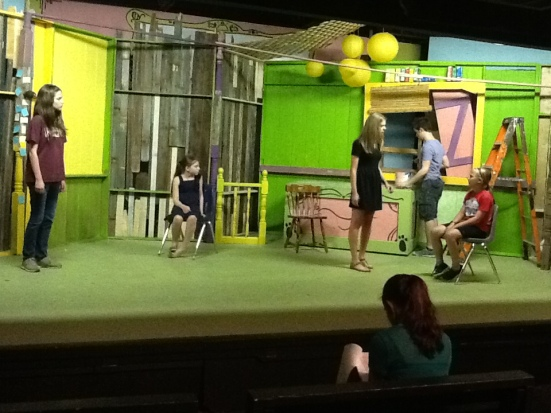 1st rehearsal on the set. Set Designer &  Painter Joseph Cummings upstage