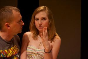 Rehearsal shot: Jeff Swearingen, Mikaela Krantz