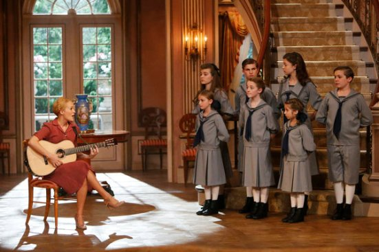 Carrie Underwood as Maria with Van Trapp children in NBC live production of THE SOUND OF MUSIC