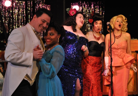 At the Echo Room: Jonathan Garcia sweet talks Kristen Bond while Kateri Cale, Lorena Davey and Maranda Harrison sing back up.