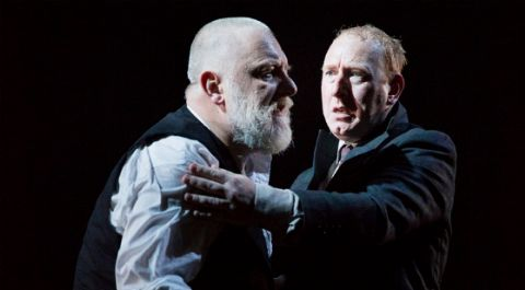 Adrian Scarborough  as the Fool; Simon Russell Beale as Lear