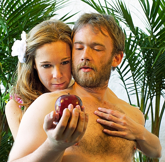 Catherine D. Dubord and Austin Tindle as Eve and Adam