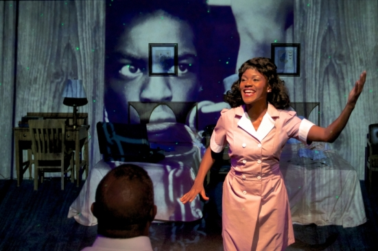 Ashley Wilkerson in Jubilee Theatre's The Mountaintop. Photo by Cecil Fuqua