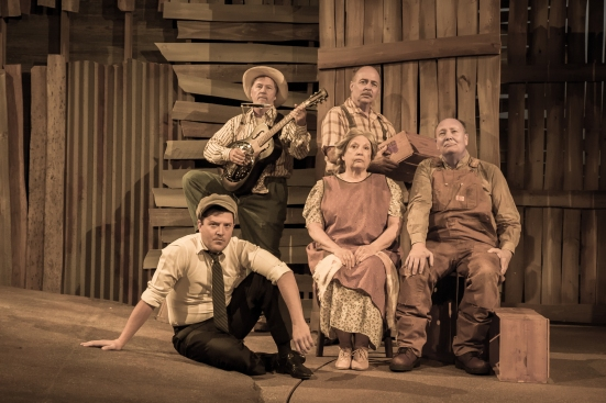 The Grapes of Wrath: Sonny Franks, Michael Corrolla, Pam Dougherty and David Coffee (seated), Cameron Cobb (in front)