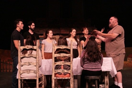 Lyric Stage's  cast, Jason Kane as Tevye, rehearsing Fiddlerl