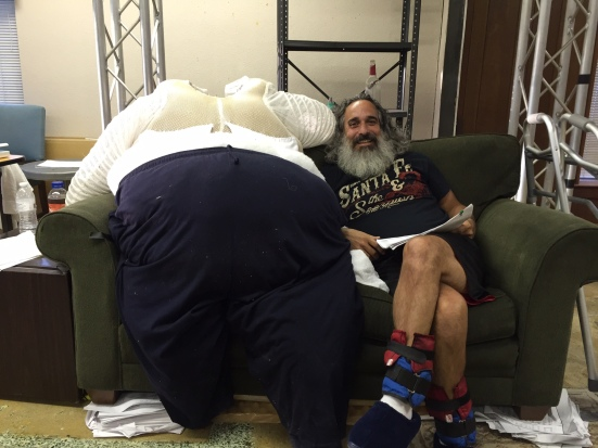 """Jason Leyva and the fat suit he wears as the 600 pound man in """"The Whale"""""""