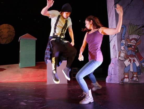 Blu (Chris Ramirez) dances with his rmother Soledad (Stephanie Cleghorn Jasso)